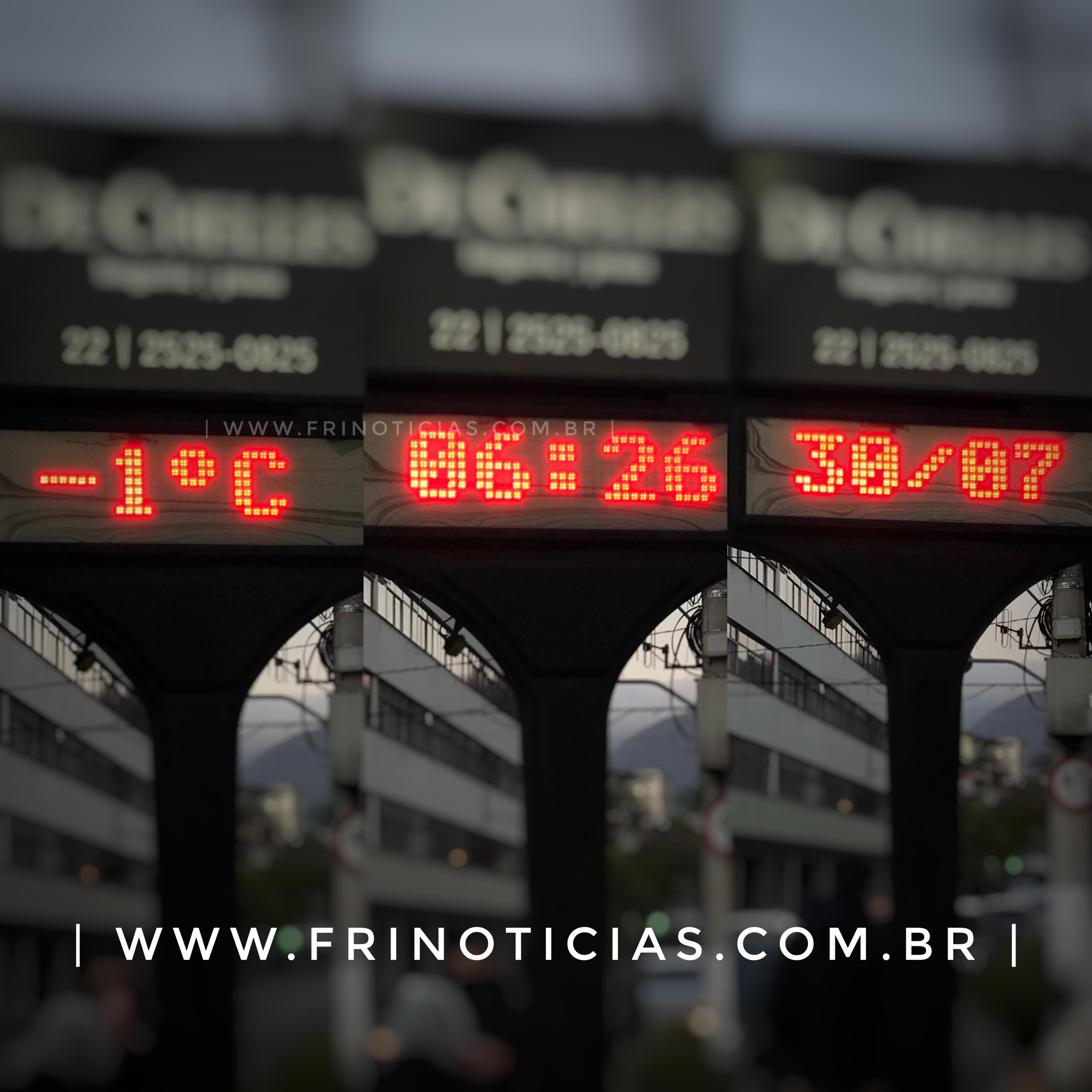Termômetro no Centro de Nova Friburgo, RJ, registra -1°C nesta sexta-feira, (30).